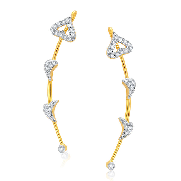 Pissara Resplendent Gold and Rhodium Plated CZ Earcuff For Women