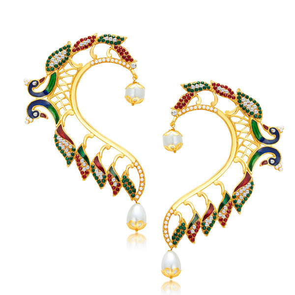 Sukkhi Astonishing Peacock Gold Plated AD Earcuff For Women