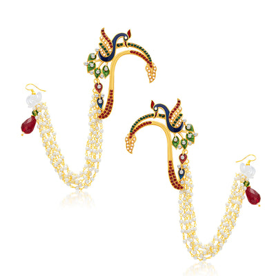 Sukkhi Fashionable Peacock Gold Plated Set of 3 Pair Earring Combo For Women-2