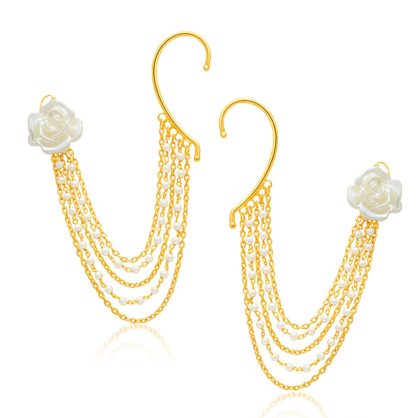 Sukkhi Cluster Gold Plated Pearl Earcuff For Women