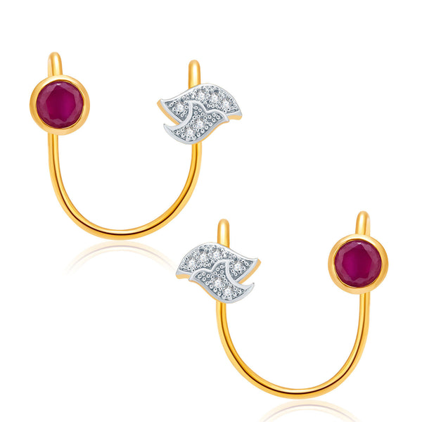 Pissara Sparkling Gold And Rhodium Plated Ruby CZ Earcuff For Women