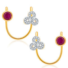 Pissara Spectacular Gold And Rhodium Plated Ruby CZ Earcuff For Women