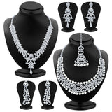 Sukkhi Dazzling Rhodium Plated AD Set of 2 Necklace Set Combo For Women