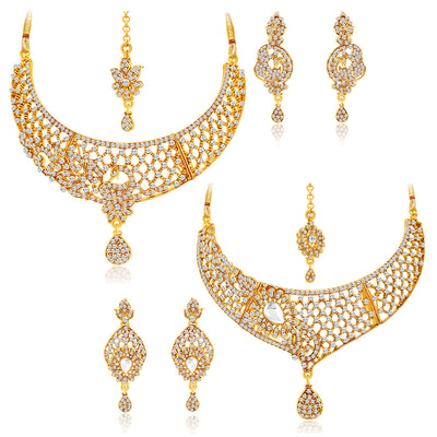 Sukkhi Excellent Gold Plated AD Set of 2 Necklace Set Combo For Women-1