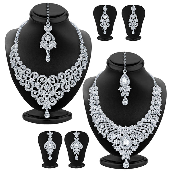 Sukkhi Angelic Rhodium Plated AD Set of 2 Necklace Set Combo For Women