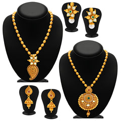Sukkhi Blossomy Gold Plated Kundan Set of 2 Necklace Set Combo For Women