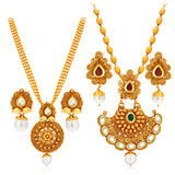 Sukkhi Wavy Gold Plated Kundan Set of 2 Necklace Set Combo For Women-1