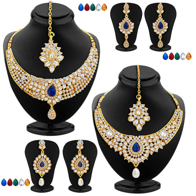 Sukkhi Ethnic Gold Plated AD Set of 2 Necklace Set With Set of 10 Changeable Stone Combo For Women
