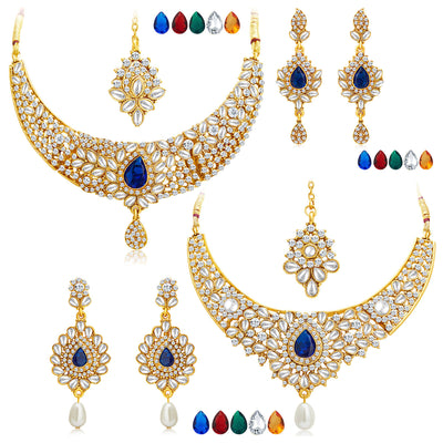 Sukkhi Ethnic Gold Plated AD Set of 2 Necklace Set With Set of 10 Changeable Stone Combo For Women-1