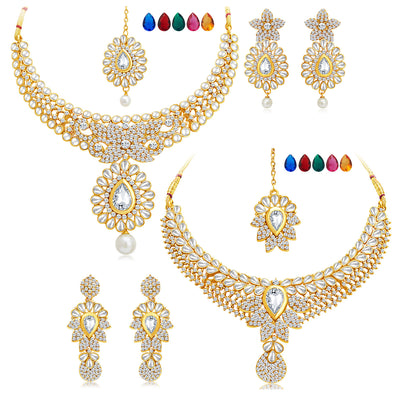 Sukkhi Royal Gold Plated AD Set of 2 Necklace Set with Set of 10 Changeable Stone Combo For Women-1
