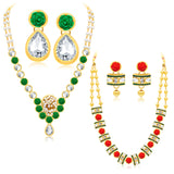 Sukkhi Divine Gold Plated AD Set of 2 Necklace Set Combo For Women