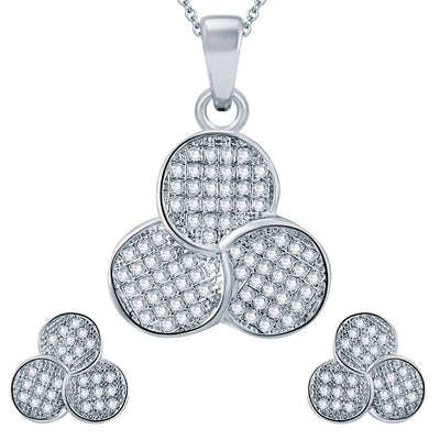 Pissara Fascinating Rhodium plated Micro Pave Setting CZ Pendant Set