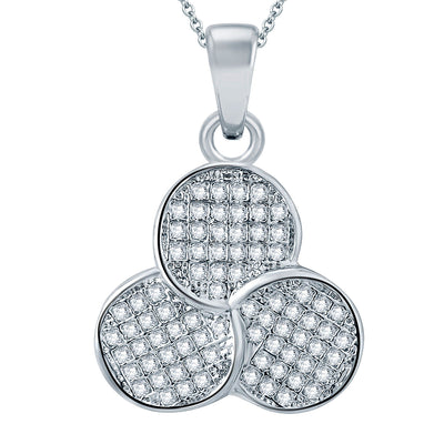 Pissara Fascinating Rhodium plated Micro Pave Setting CZ Pendant Set-1