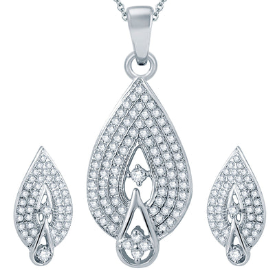Pissara Attractive Rhodium plated Micro Pave Setting CZ Pendant Set