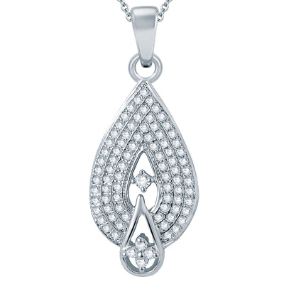 Pissara Attractive Rhodium plated Micro Pave Setting CZ Pendant Set-1