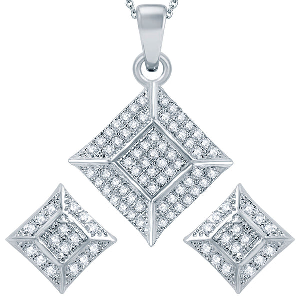 Pissara Traditional Rhodium plated Micro Pave Setting CZ Pendant Set