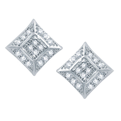 Pissara Traditional Rhodium plated Micro Pave Setting CZ Pendant Set-2
