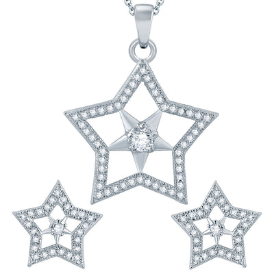 Pissara Exotic Star Rhodium plated Micro Pave Setting CZ Pendant Set