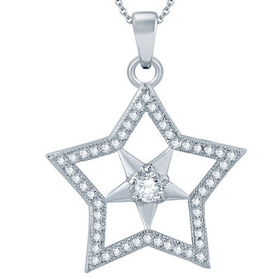 Pissara Exotic Star Rhodium plated Micro Pave Setting CZ Pendant Set-1