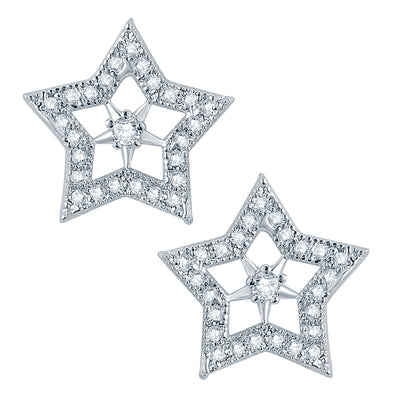 Pissara Exotic Star Rhodium plated Micro Pave Setting CZ Pendant Set-2