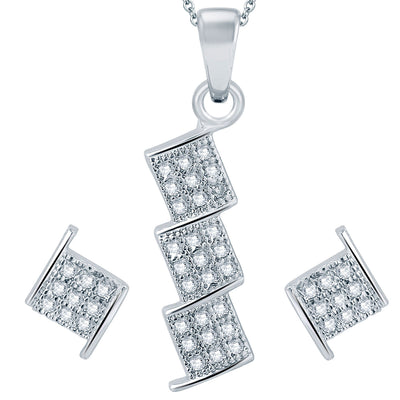 Pissara Stylish Rhodium plated Micro Pave Setting CZ Pendant Set