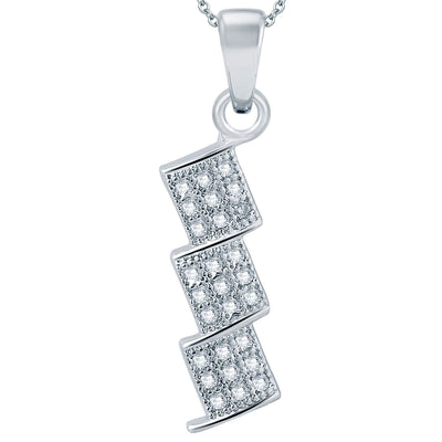 Pissara Stylish Rhodium plated Micro Pave Setting CZ Pendant Set-1