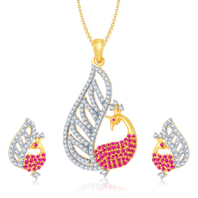 Pissara Glamorous Gold and Rhodium Plated Cubic Zirconia and Ruby Stone Studded Pendant Set