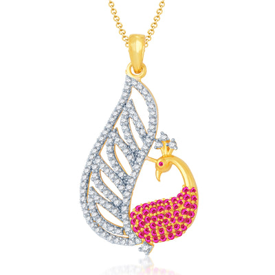 Pissara Glamorous Gold and Rhodium Plated Cubic Zirconia and Ruby Stone Studded Pendant Set-1