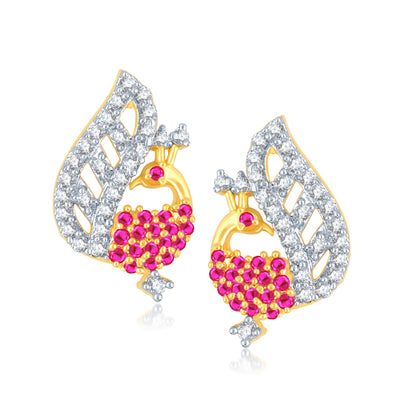 Pissara Glamorous Gold and Rhodium Plated Cubic Zirconia and Ruby Stone Studded Pendant Set-2