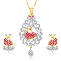 Pissara Excellent Gold and Rhodium Plated Cubic Zirconia and Ruby Stone Studded Pendant Set