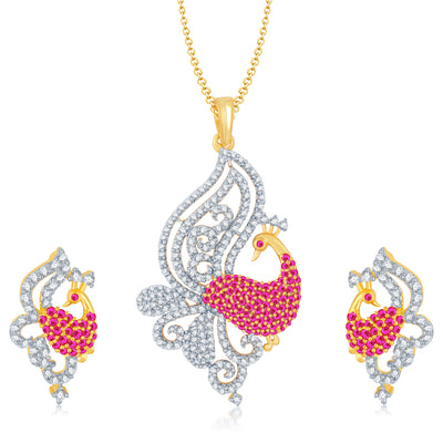 Pissara Gorgeous Gold and Rhodium Plated Cubic Zirconia and Ruby Stone Studded Pendant Set