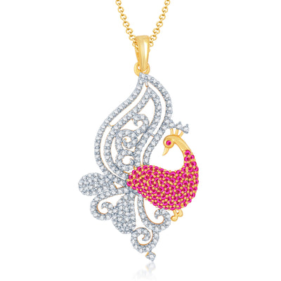 Pissara Gorgeous Gold and Rhodium Plated Cubic Zirconia and Ruby Stone Studded Pendant Set-1