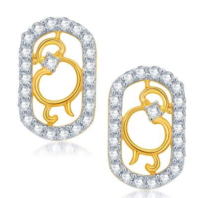 Pissara Eye-Catchy Gold and Rhodium Plated CZ Pendant Set for Women-2