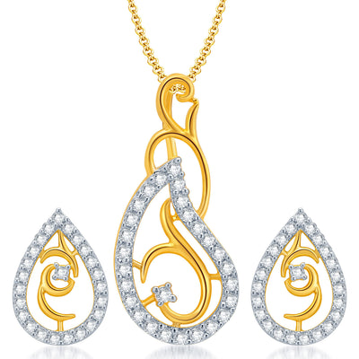 Pissara Exquitely Gold and Rhodium Plated CZ Pendant Set for Women