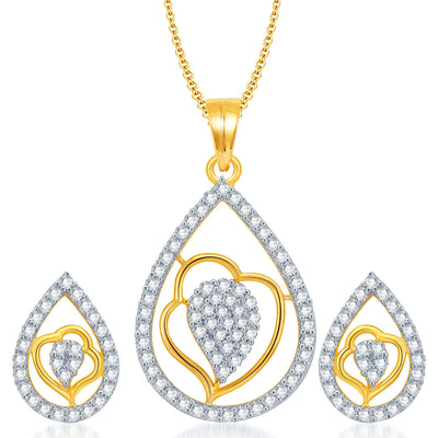 Pissara Exquisite Gold and Rhodium Plated CZ Pendant Set for Women