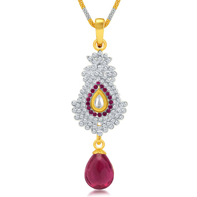 Sukkhi Divine Gold and Rhodium Plated AD Kundan Pendant Set for Women-1