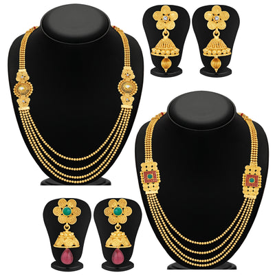 Sukkhi Ravishing Jalebi 4 String Gold Plated Set of 2 Necklace Set Combo For Women