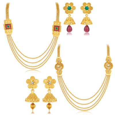 Sukkhi Ravishing Jalebi 4 String Gold Plated Set of 2 Necklace Set Combo For Women-1