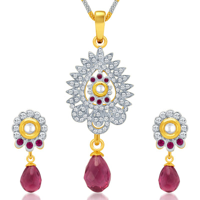 Sukkhi Dazzling Gold and Rhodium Plated AD Kundan Pendant Set for Women