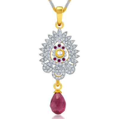 Sukkhi Dazzling Gold and Rhodium Plated AD Kundan Pendant Set for Women-1