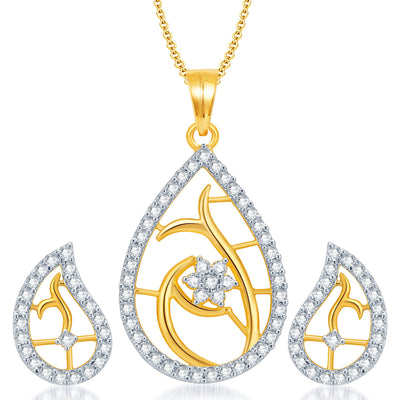 Pissara Classy Gold and Rhodium Plated CZ Pendant Set for Women