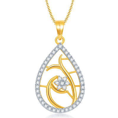 Pissara Classy Gold and Rhodium Plated CZ Pendant Set for Women-1