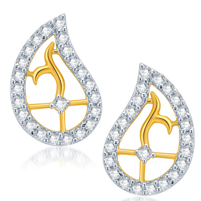 Pissara Classy Gold and Rhodium Plated CZ Pendant Set for Women-2