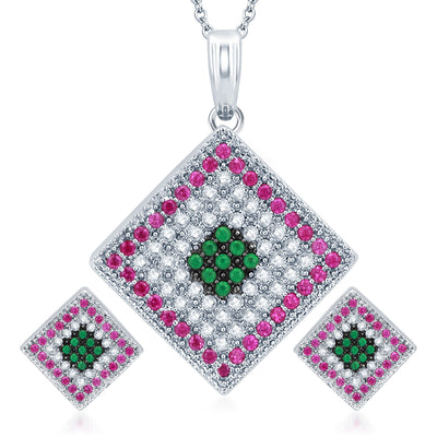 Pissara Charming Rhodium Plated Emerald Ruby CZ Micro Pave Pendant Set
