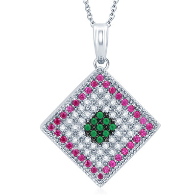 Pissara Charming Rhodium Plated Emerald Ruby CZ Micro Pave Pendant Set-1