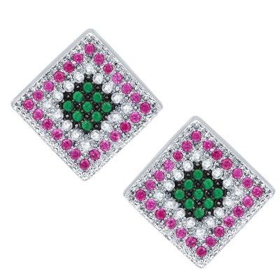 Pissara Charming Rhodium Plated Emerald Ruby CZ Micro Pave Pendant Set-2