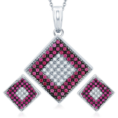 Pissara Royal Rhodium Plated Ruby CZ Micro Pave Pendant Set