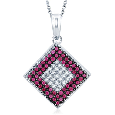 Pissara Royal Rhodium Plated Ruby CZ Micro Pave Pendant Set-1