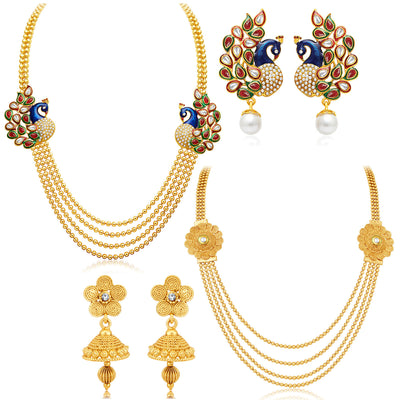Sukkhi Beguiling 4 String Gold Plated Set of 2 Necklace Set Combo For Women-1