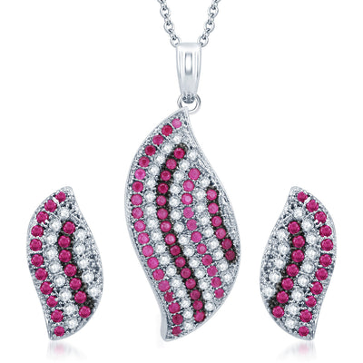 Pissara Finely Rhodium Plated Ruby CZ Micro Pave Pendant Set